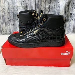 Puma Basket Mid Exotic Black Leather Sneakers